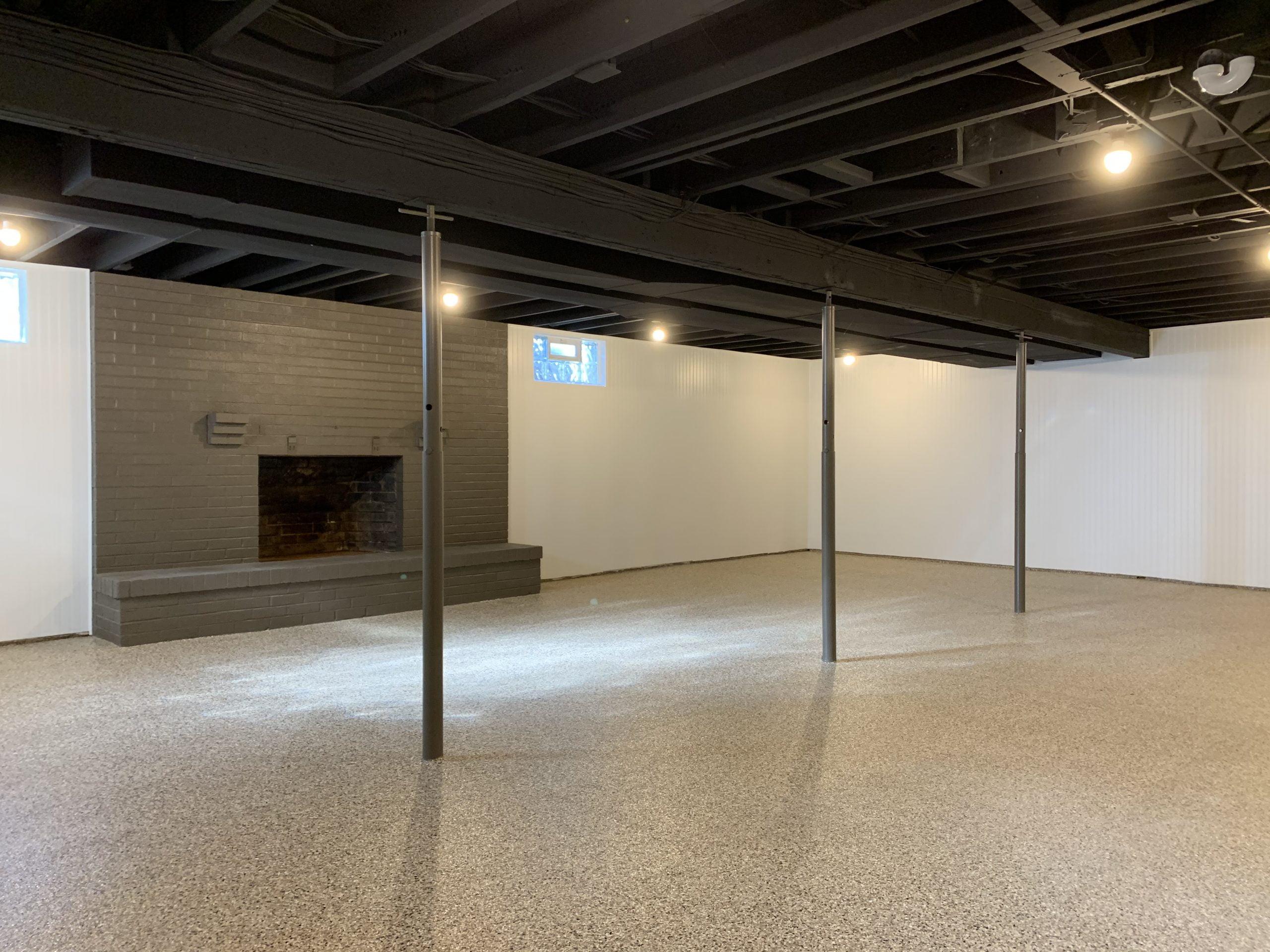 Restored Basement And Basement Epoxy Flooring