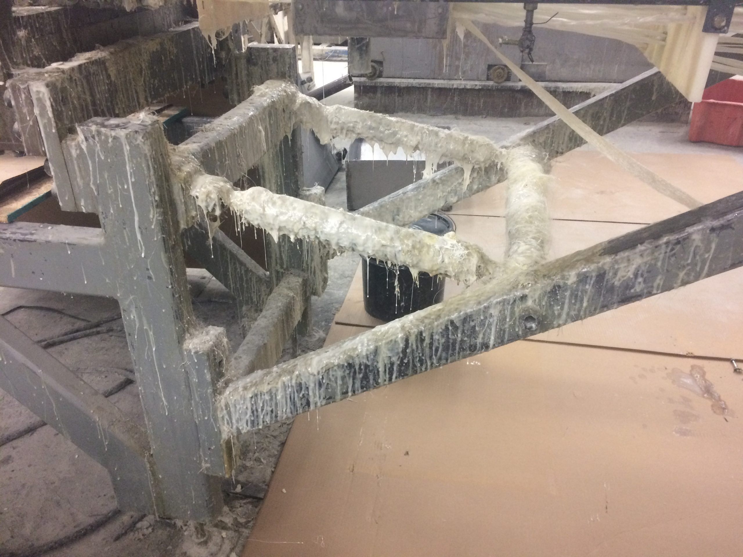 Pultrusion Before Industrial Cleaning With Dry Ice Blasting And Machine Restoration