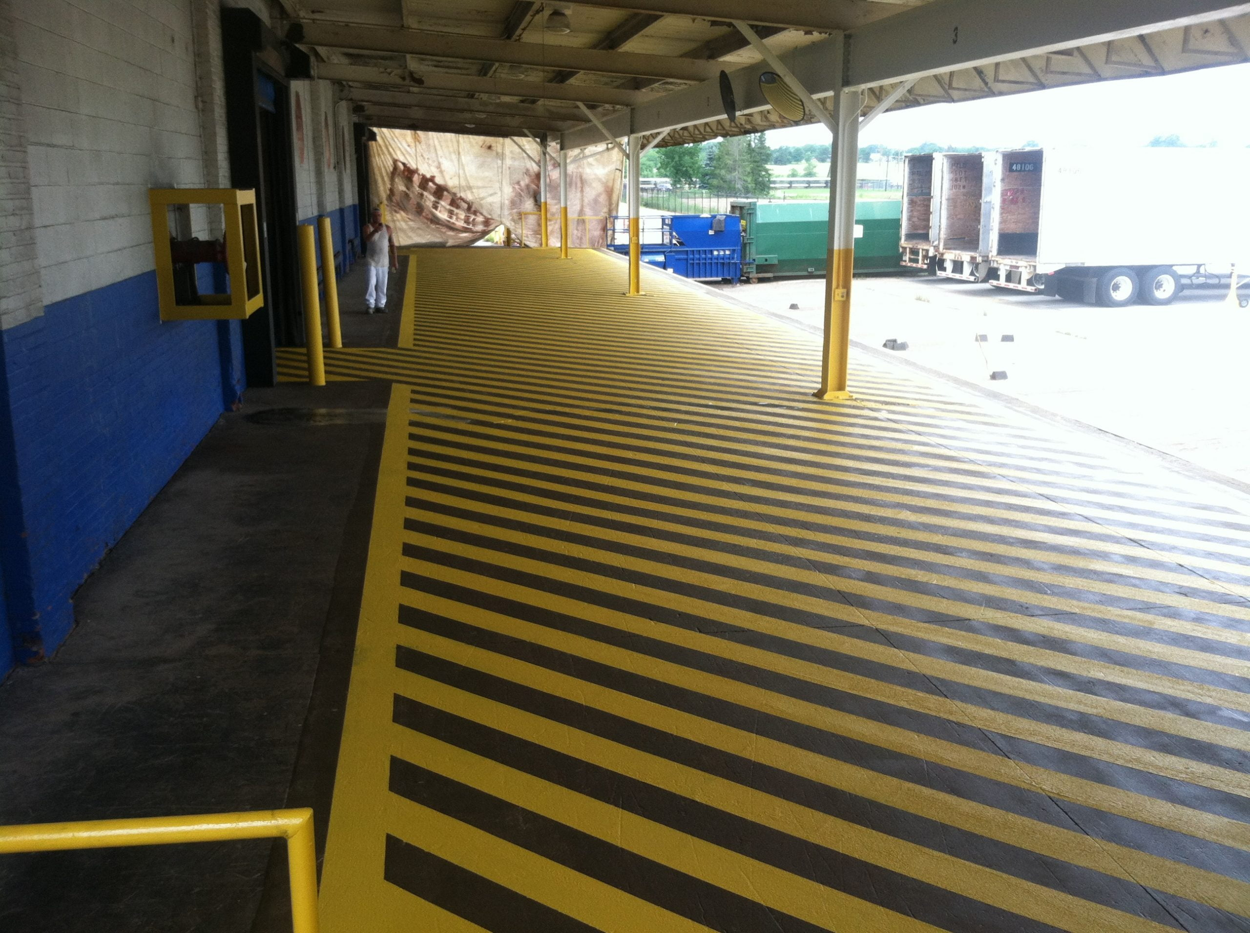 Loading Dock After Asile Stripping And Textured Paint To Prevent Slipping And Images