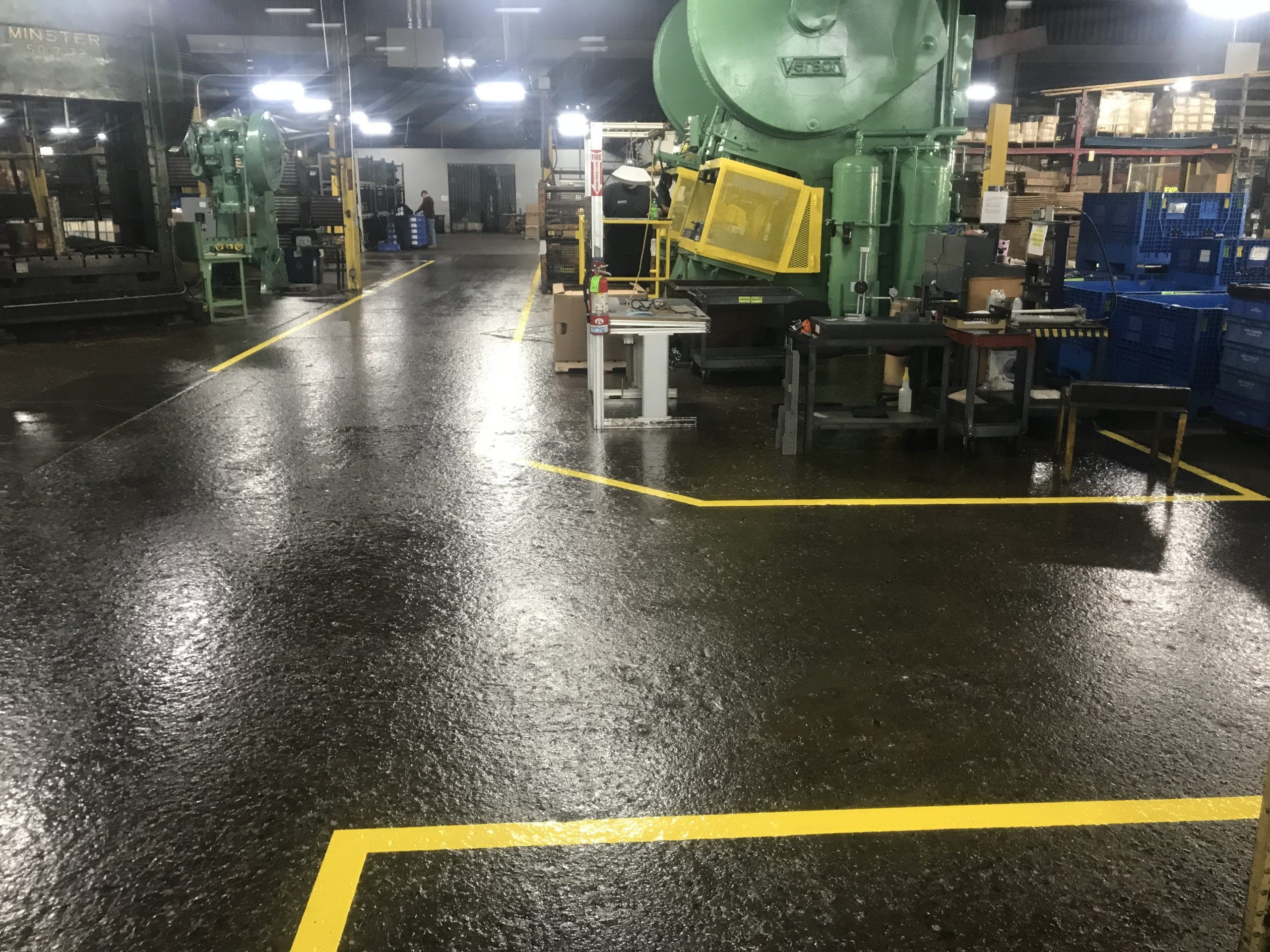 Manufacturing Work Areas After Aisle Sripping And Pathway And Epoxy Urethane Flooring